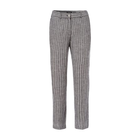 Olsen Striped Linen 3/4 Length Trousers Black  - Click to view a larger image