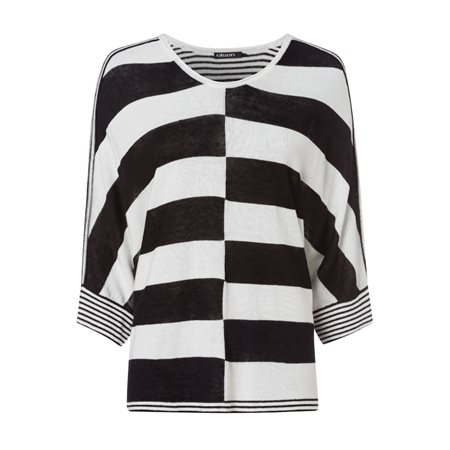 Olsen Monochrome Batwing Pullover Black  - Click to view a larger image