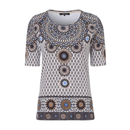 Olsen Ethnic Print Top Beige  - Click to view a larger image
