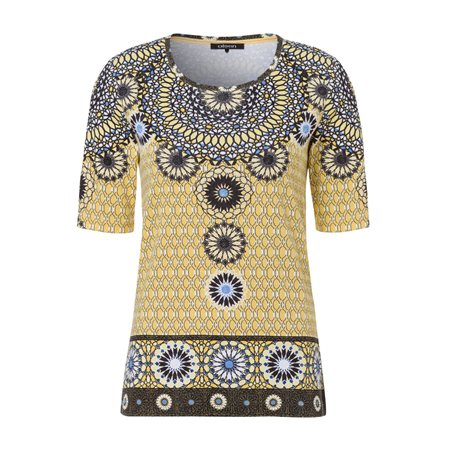 Olsen Ethnic Print Top Yellow  - Click to view a larger image