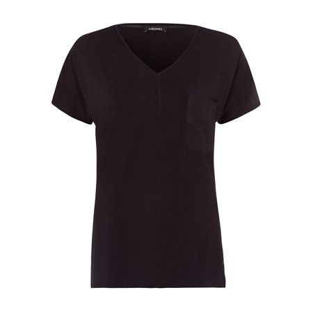 Olsen Linen Mix Top With Pocket Black  - Click to view a larger image