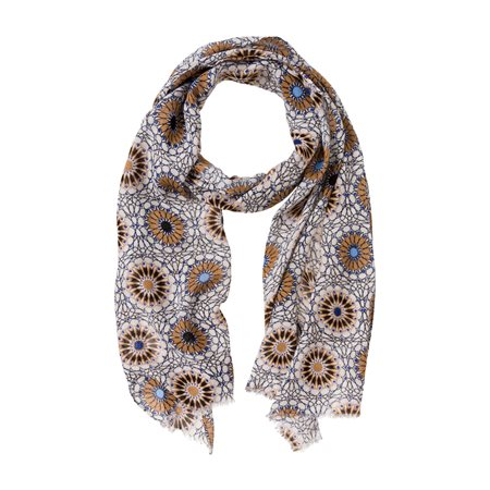 Olsen Abstract Floral Scarf Beige  - Click to view a larger image