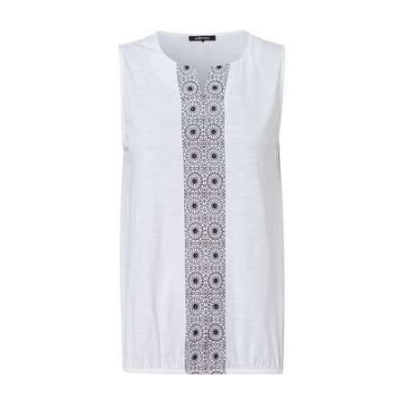 Olsen Abstract Sleeveless Top White  - Click to view a larger image