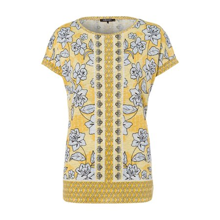 Olsen Short Sleeved Floral Print Top Yellow  - Click to view a larger image
