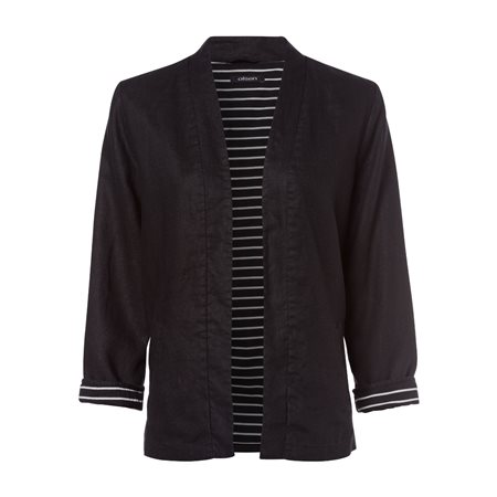 Olsen Linen Jacket With Striped Lining Black  - Click to view a larger image