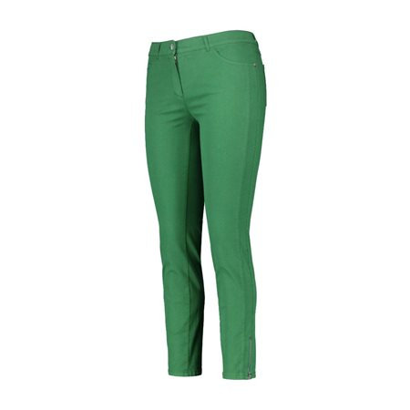 Gerry Weber Cropped Trousers With Hem Zip Green  - Click to view a larger image