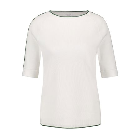 Gerry Weber Contrast Edge 1/2 Sleeve Jumper White  - Click to view a larger image
