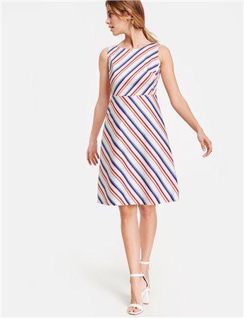 Taifun Striped Sleeveless Dress Cream  - Click to view a larger image