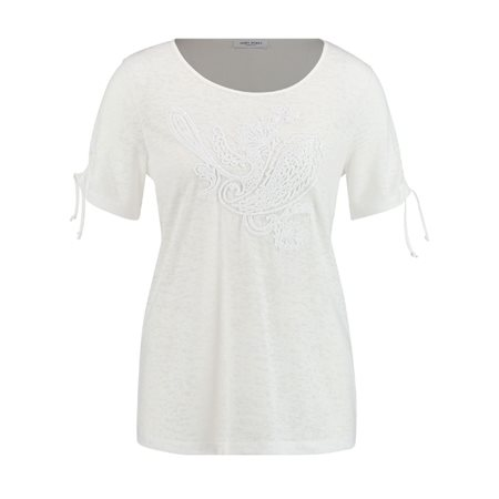 Gerry Weber Beaded Detail Tie Sleeve Top White  - Click to view a larger image