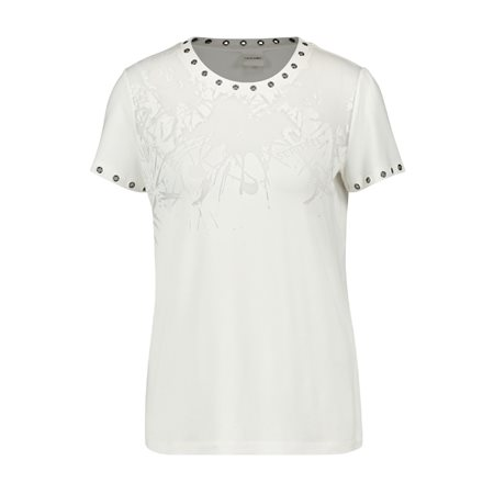 Taifun Short Sleeve Top With Stud Detail White  - Click to view a larger image