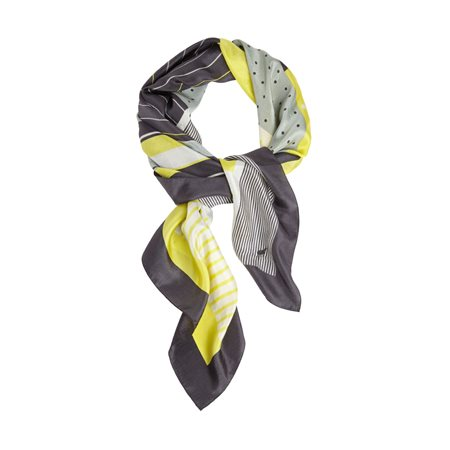 Sandwich Silk Printed Scarf Yellow  - Click to view a larger image