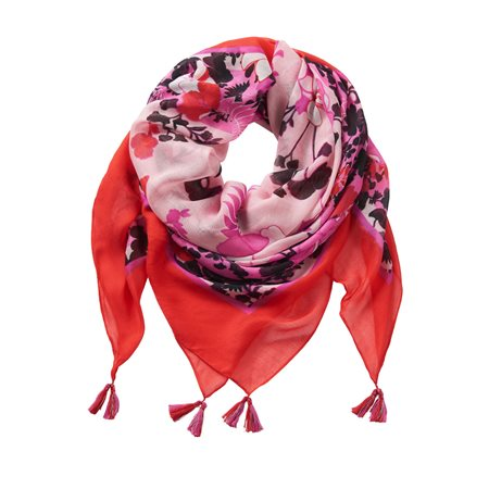 Betty Barclay Floral Print Scarf Red  - Click to view a larger image