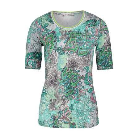 Betty Barclay Graphic Print Top Green  - Click to view a larger image