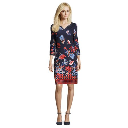 Betty Barclay Embellished Floral Dress Dark Blue  - Click to view a larger image