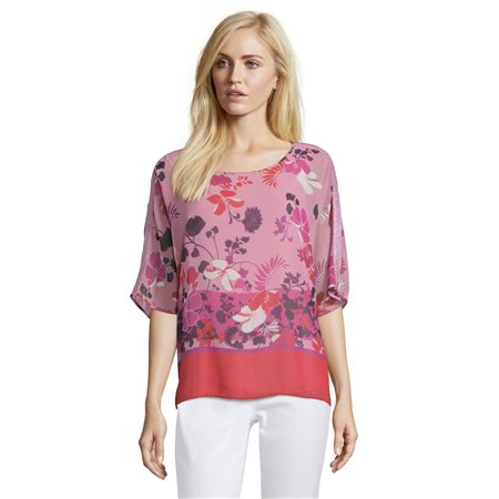 Betty Barclay Floral Print Tunic Red  - Click to view a larger image
