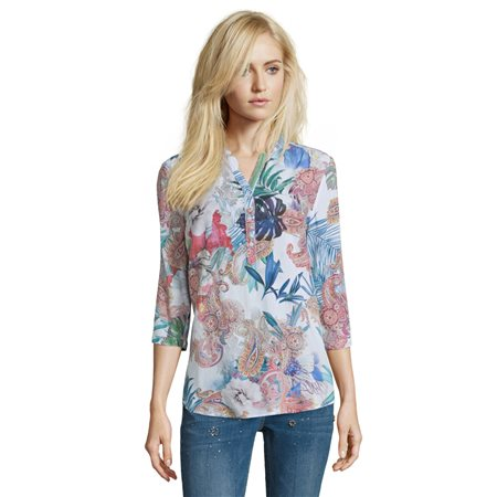 Betty Barclay Multi Colour Floral Blouse Green  - Click to view a larger image