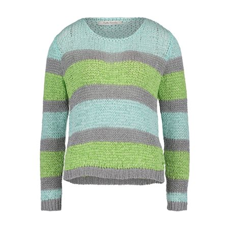 Betty Barclay Striped Crochet Knit Jumper Green  - Click to view a larger image