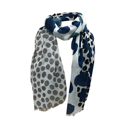 One Button Jewellery Polka Dot Print Scarf Blue  - Click to view a larger image