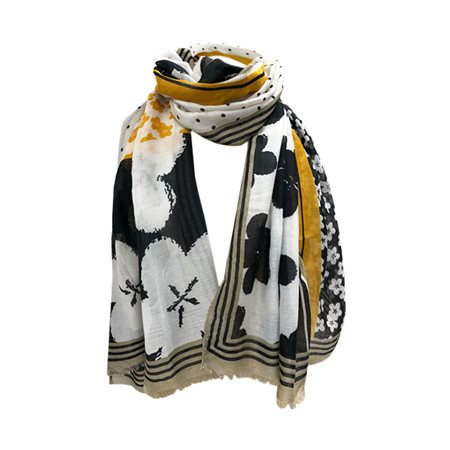 One Button Jewellery Floral Patterned Scarf Black  - Click to view a larger image