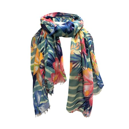 One Button Jewellery Tropical Print Scarf Blue  - Click to view a larger image