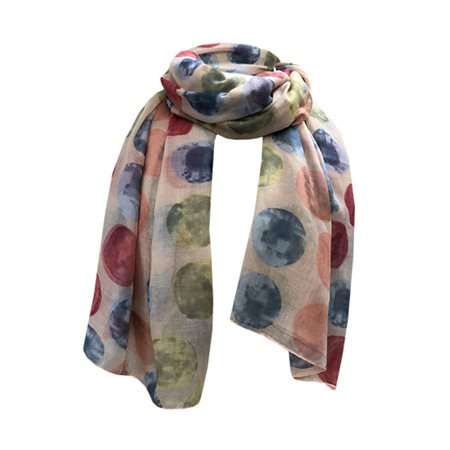 One Button Jewellery Polka Dot Print Scarf< Peach  - Click to view a larger image