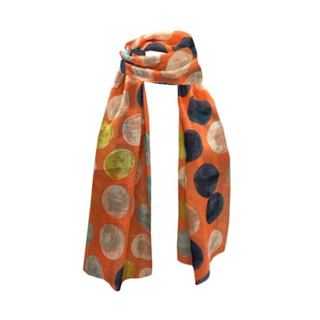 One Button Jewellery Polka Dot Print Scarf Orange  - Click to view a larger image