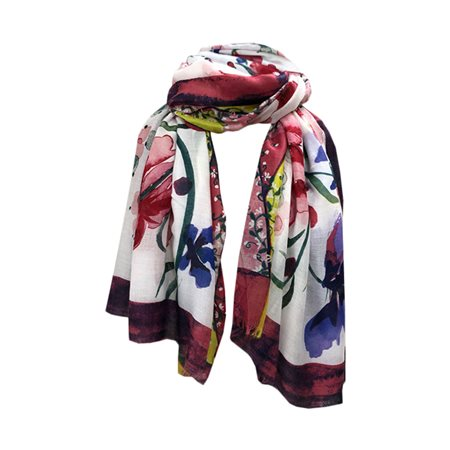 One Button Jewellery Floral Patterned Scarf Pink  - Click to view a larger image
