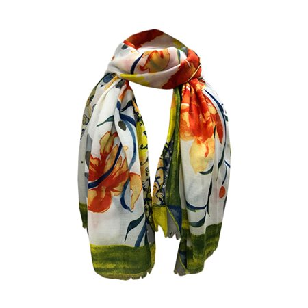 One Button Jewellery Floral Patterned Scarf Orange  - Click to view a larger image