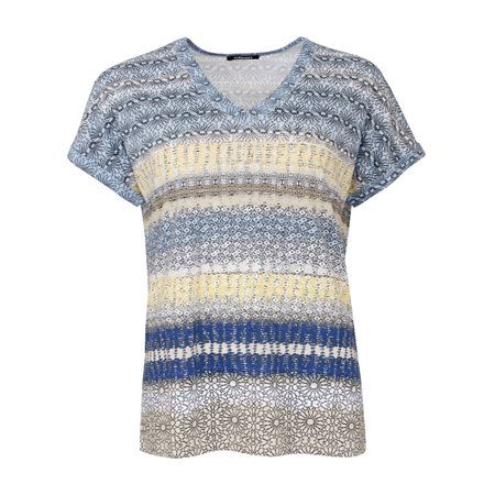 Olsen Abstract Print Top Denim Blue  - Click to view a larger image