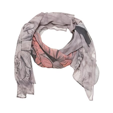 Monari Floral Patterned Scarf Grey  - Click to view a larger image