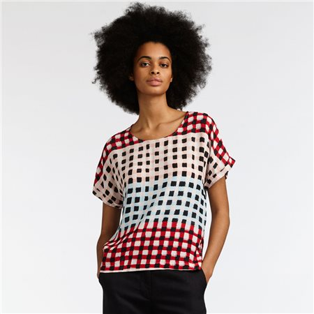 Sandwich Multi Coloured Checkered Top Pink  - Click to view a larger image