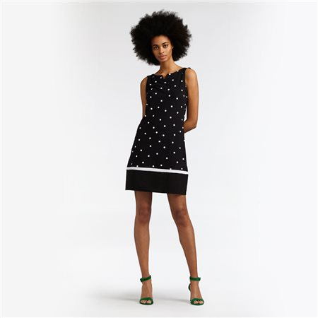 Sandwich Bell Dress With Dot Print Black  - Click to view a larger image