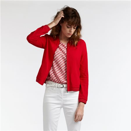 Sandwich Zipped Jacket With Sparkle Detail Red  - Click to view a larger image