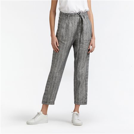 Sandwich Stripe Linen Crop Trouser Black  - Click to view a larger image