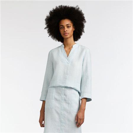 Sandwich Stripe Linen Blouse Blue  - Click to view a larger image