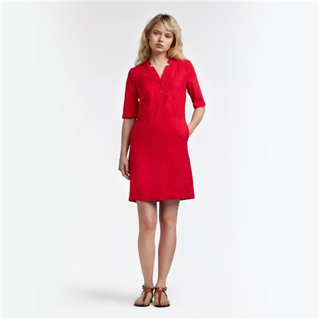 Sandwich Linen Dress Red  - Click to view a larger image