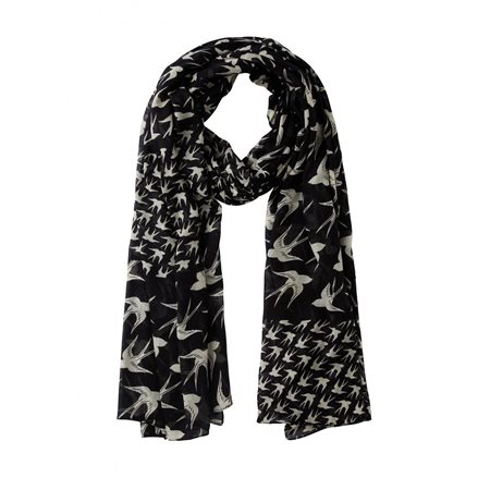 Sandwich Swallow Scarf Black  - Click to view a larger image