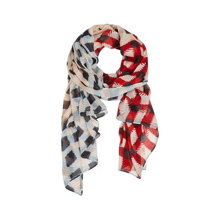 Sandwich Check Print Scarf Red  - Click to view a larger image