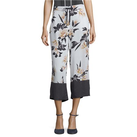Betty & Co Floral Print Trousers Off White  - Click to view a larger image