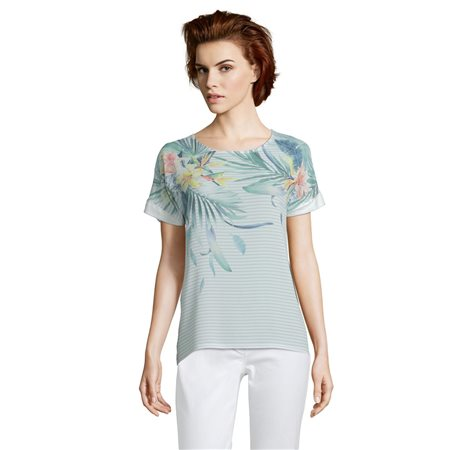 Betty & Co Tropical Print Top Green  - Click to view a larger image