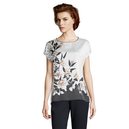 Betty & Co Short Sleeve Floral Top Off White  - Click to view a larger image