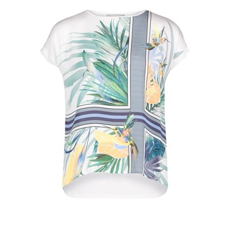 Betty & Co Abstract Floral Print Top Green  - Click to view a larger image