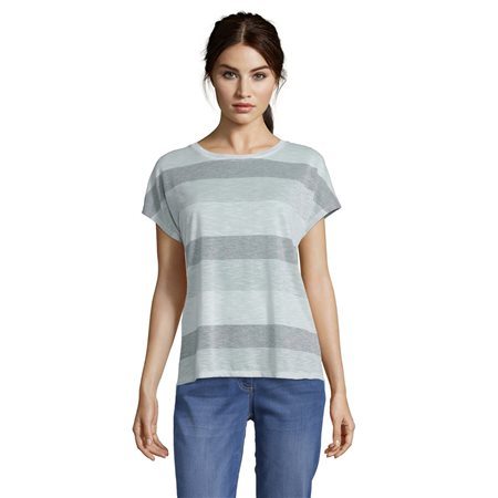 Betty & Co Casual Striped Top Silver  - Click to view a larger image