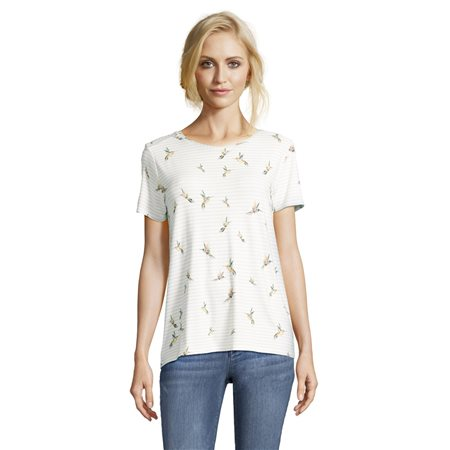 Betty & Co Bird Print Top White  - Click to view a larger image