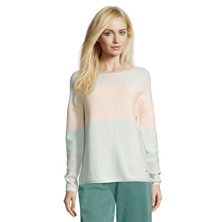 Betty & Co Colour Block Knitted Jumper Green  - Click to view a larger image