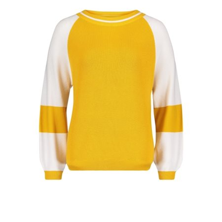 Betty & Co Knitted Pullover With Sleeve Stripe Yellow  - Click to view a larger image