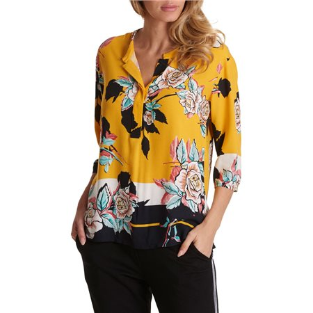 Betty & Co 3/4 Sleeve Floral Blouse Yellow  - Click to view a larger image