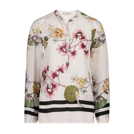Betty & Co 3/4 Sleeve Blouse With Floral Design White  - Click to view a larger image