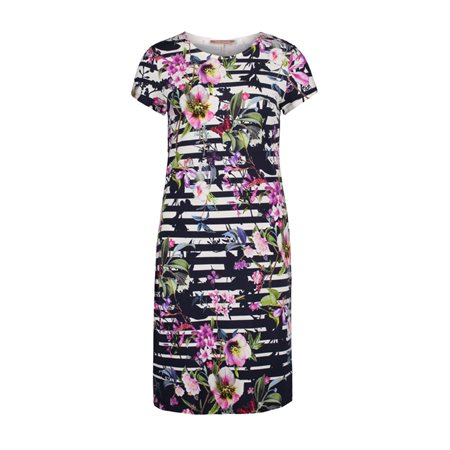 Betty Barclay Floral Dress Dark Blue  - Click to view a larger image