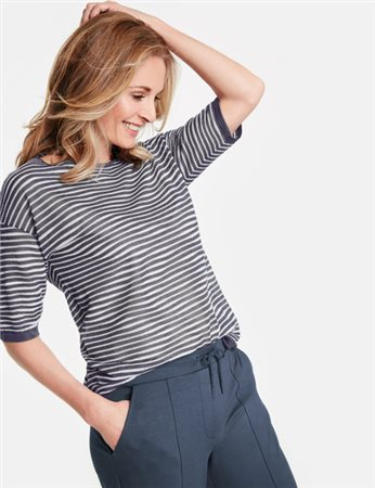 Gerry Weber 1/2-Sleeve Jumper With Textured Stripes Blue  - Click to view a larger image